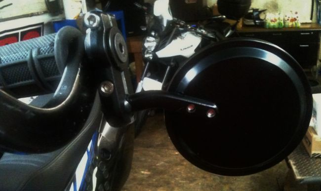 Outlaw Racing Bar End Mirrors mounted to Armor Hand Guards